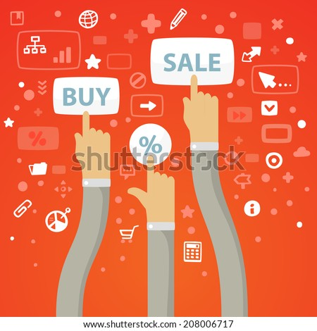Bright vector illustration male hands curving stretch to the buttons to buy, sell and percent on a red background with different financial icons - stock vector