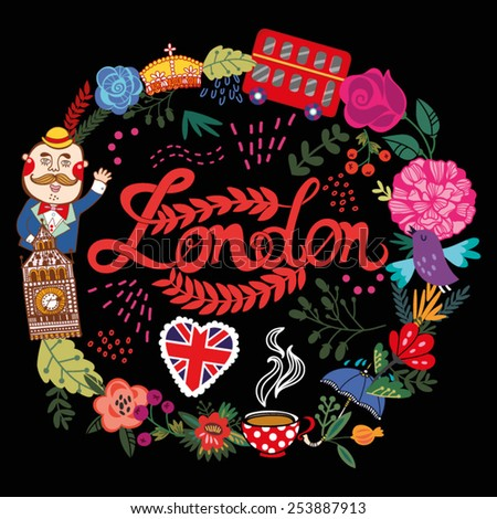 Bright vector illustration of wreath made from London's symbols. - stock vector