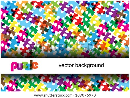 bright vector puzzle pieces and frame for text isolated on white background - stock vector