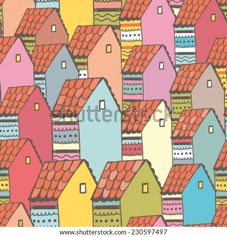 Bright vector seamless pattern of vintage colorful houses. - stock vector