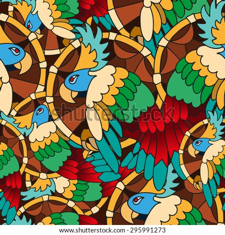 Bright vector seamless pattern with hand drawn parrots. Background for web design, banners, brochures, wallpapers, textile. - stock vector