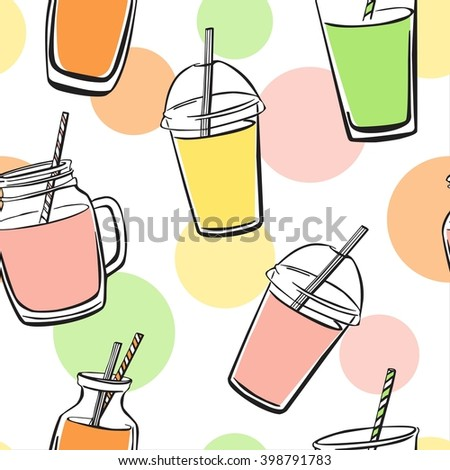 Bright vector seamless pattern with hand drawn smoothie and juice bottles, glasses, jars and cups on white background with colorful circles and dots. Doodles with black outline and color elements - stock vector