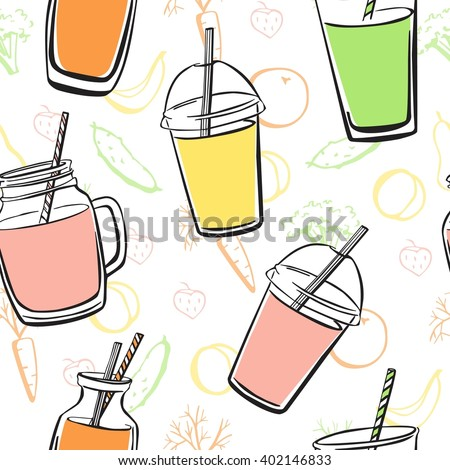 Bright vector seamless pattern with hand drawn smoothie and juice bottles, glasses, jars and cups on white background with colorful doodle fruits, vegetables and berries.  - stock vector