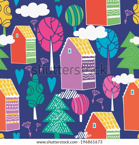 Bright vector seamless pattern with vintage colorful houses and trees. - stock vector