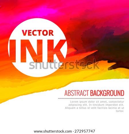 bright watercolor colorful ink splash vector design illustration - stock vector