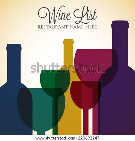 Bright wine list menu cover in vector format. - stock vector