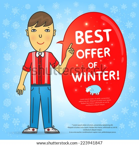 """Bright winter background with snowflakes, cute boy, red sticker with the words """"best offer of winter"""" and a cute lamb. Vector illustration.  - stock vector"""