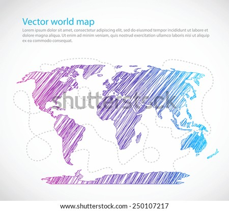 Bright world map seaway template vector on white background - stock vector