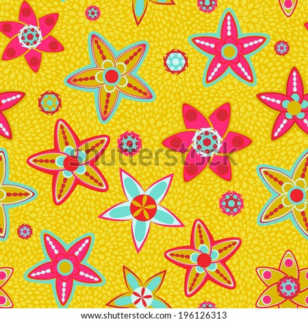 Bright Yellow Flower Seamless Background - stock vector