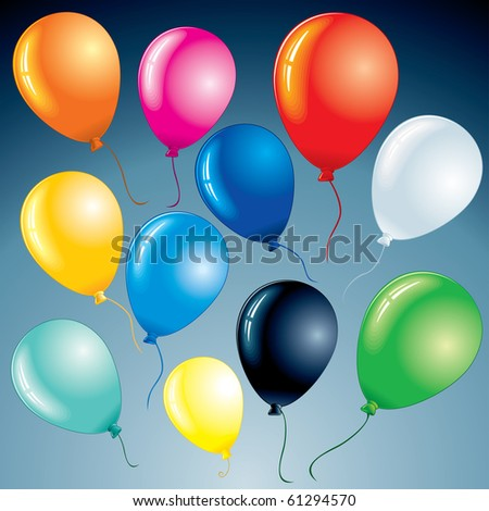 Brightly celebrating party balloons for your design project, vector set - stock vector
