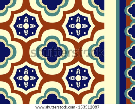 Brightly colored talavera inspired seamless vector tile with seamless tiling border in red, navy, green and yellows.  - stock vector