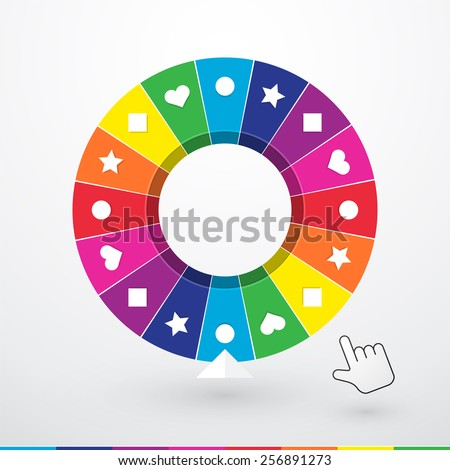 Brightly colored wheel of fortune with children's symbols - stock vector