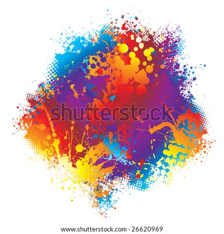 Brightly coloured rainbow ink splat design with halftone dot - stock vector