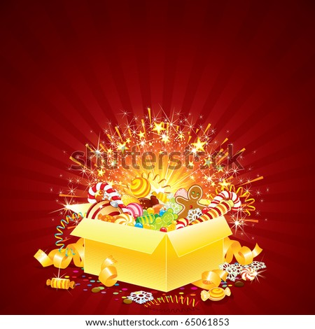 Brightly Greeting Card with opened Gift box for Christmas, Birthday or other Events - stock vector
