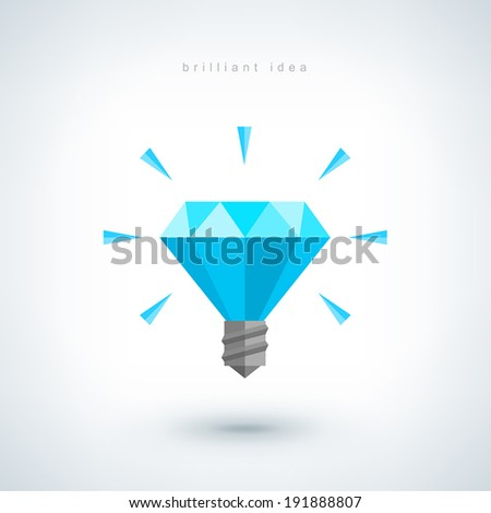 Brilliant idea concept. Light bulb polygonal vector icon. Flat design Illustration, low poly style. Creative abstract background design for poster, flyer, cover, brochure, business idea. Logo design. - stock vector