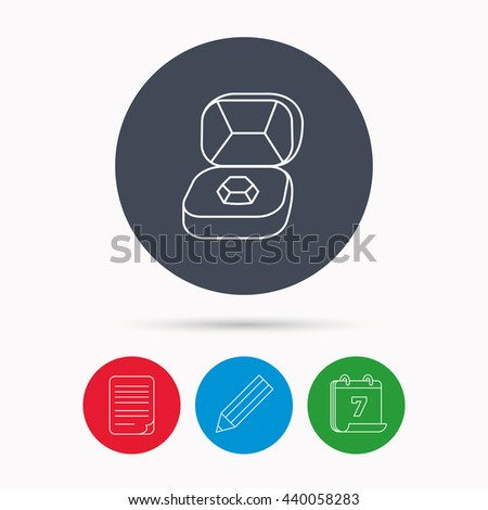 Brilliant jewellery icon. Engagement sign. Calendar, pencil or edit and document file signs. Vector - stock vector