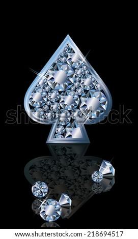 Brilliant poker card spades, vector illustration - stock vector