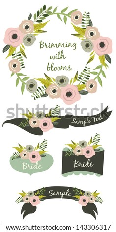 Brimming with blooms - stock vector