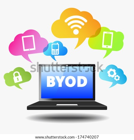 Bring your own device web business concept with byod sign on a laptop computer and technology devices icons and wifi symbol on colorful clouds. Vector EPS 10 illustration. - stock vector