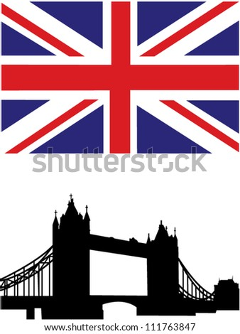 British flag and Tower Bridge on River Thames - stock vector