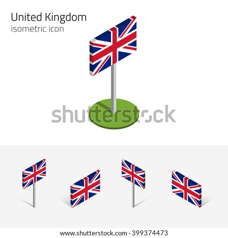 British flag (United Kingdom), Union Jack, vector set of isometric flat icons, 3D style, different views. Editable design elements for banner, website, presentation, infographic, poster, map. Eps 10 - stock vector