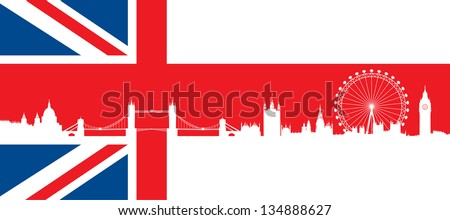 British flag  with very detailed  silhouette London skyline composition. London Monuments. - stock vector