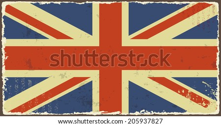 British grunge flags. Vector illustration. Grunge effect can be cleaned easily. - stock vector