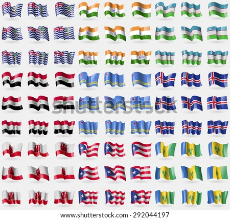 British Indian Ocean Territory, India, Uzbekistan, Syria, Aruba, Iceland, Gibraltar, Puerto Rico, Saint Vincent and Grenadines. Big set of 81 flags. Vector illustration - stock vector
