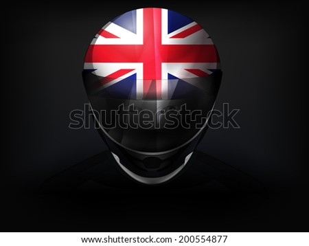 British racer with flag on helmet vector closeup illustration - stock vector
