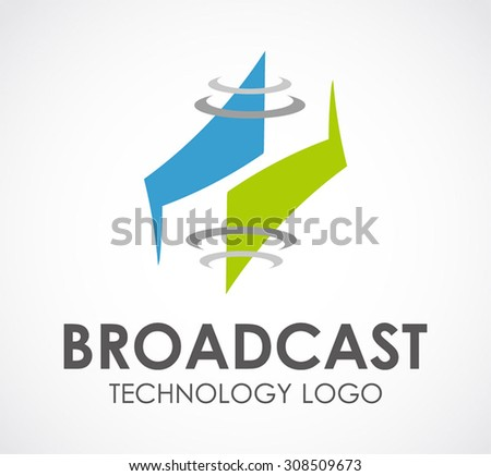 Broadcast technology communication signal abstract vector logo design template modern business icon company identity symbol concept - stock vector