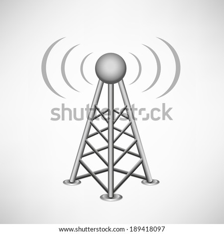 broadcasting antenna with construction and signal waves around on the white mesh background - stock vector