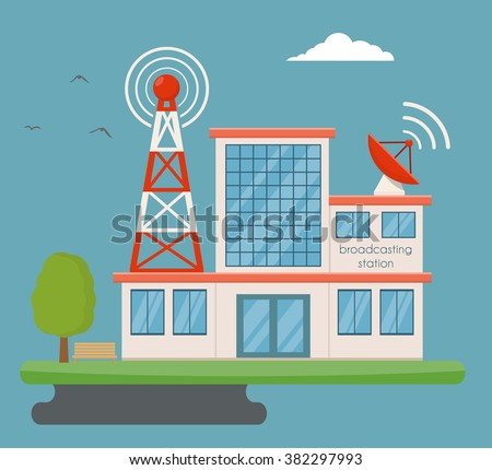 Broadcasting building - stock vector