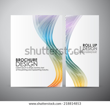 Brochure business design template or roll up. Abstract background with colorful waves - stock vector