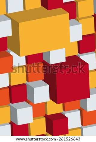 brochure cover cube wall red - stock vector