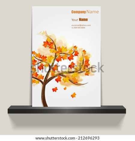 Brochure Cover or flyer  with autumn tree design  - stock vector