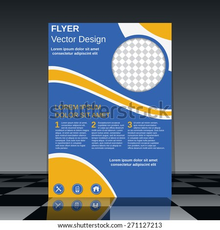 Brochure cover vector template. Business flyer, poster, booklet abstract design. - stock vector