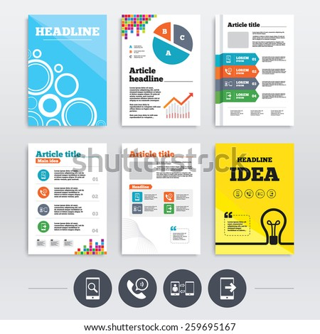 Brochure design and A4 flyers. Phone icons. Smartphone with speech bubble sign. Call center support symbol. Synchronization symbol. Infographics templates set. Vector - stock vector