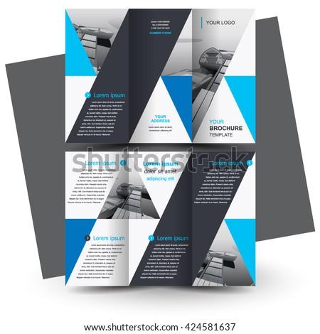 Brochure design, business brochure template, creative tri-fold, trend brochure triangles - stock vector