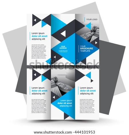 Brochure design, business brochure template, creative tri-fold, trend brochure triangles blue - stock vector