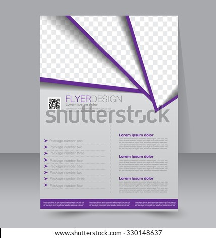 Brochure design. Flyer template. Editable A4 poster for business, education, presentation, website, magazine cover. Purple color. - stock vector