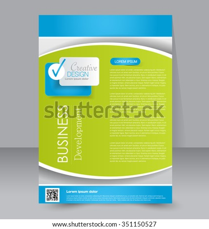 Brochure design. Flyer template. Editable A4 poster for business, education, presentation, website, magazine cover. Blue and green color. - stock vector