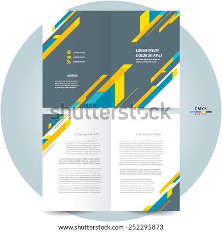 brochure design template booklet abstract stripes colorful - stock vector