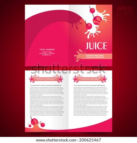 brochure design template booklet catalog fruit juice liquid drops splash red background - stock vector