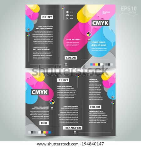 brochure design template - cmyk polygraphy - stock vector