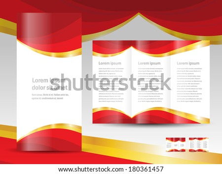 brochure design template curtain red gold drapes - stock vector