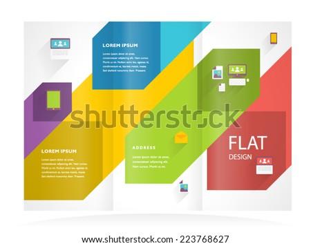 brochure design template flat colored tri-fold - stock vector