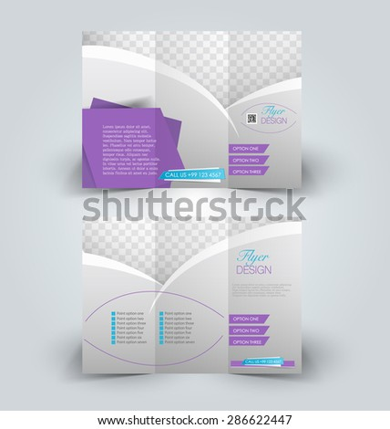 Brochure design template for business, education, advertisement. Trifold pamphlet editable printable vector illustration. Blue and purple color. - stock vector