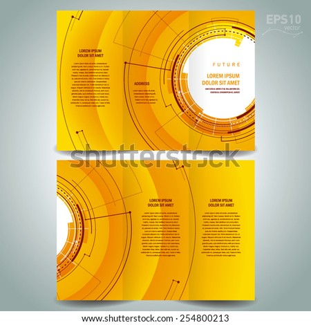brochure design template future hud circles technological - stock vector