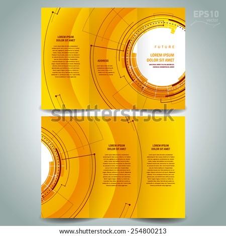 brochure design template future hud circles technological - stock vector