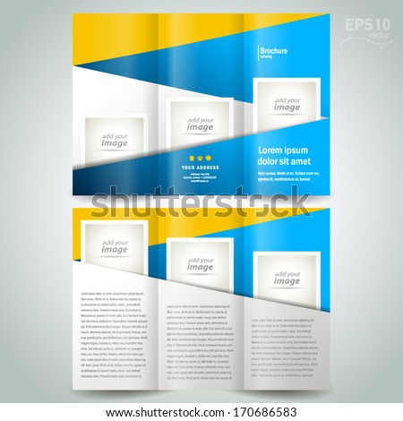 brochure design template geometric abstract element color yellow blue, block for images - stock vector